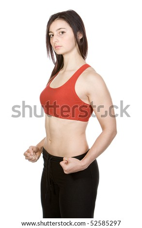 Isolated Shot of a Sporty Brunette Girl