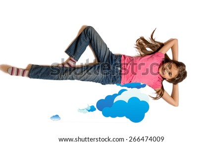 Isolated shot of cute girl dreaming and lying on drawn clouds
