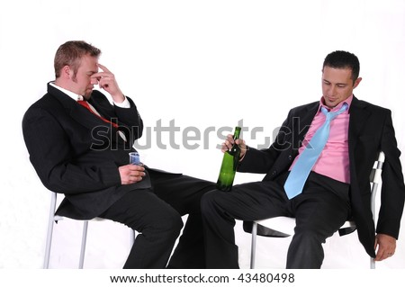 isolated shot of two business men drunk after work