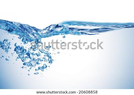 Isolated shot of water splashing - stock photo