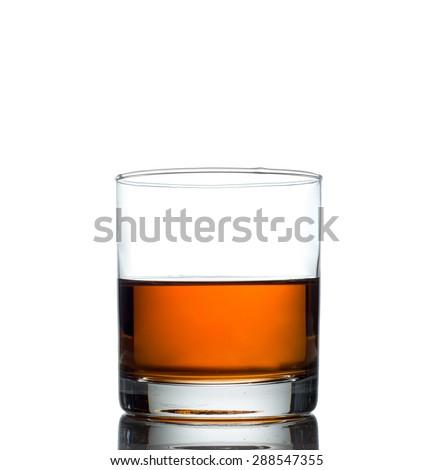 Isolated shot of whiskey on white background - stock photo