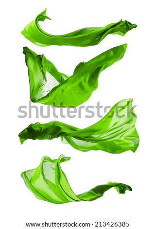 Isolated shots of freeze motion of transparent green silks, isolated on white background - stock photo
