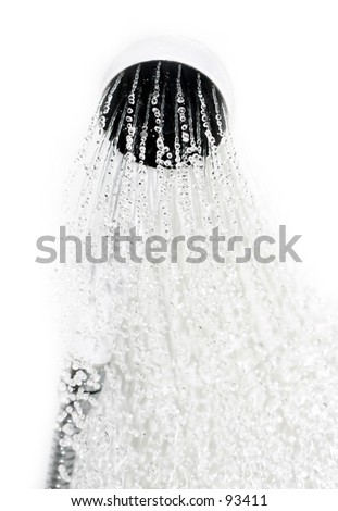 Isolated shower sprinkled with sharp water drops in focus - stock photo