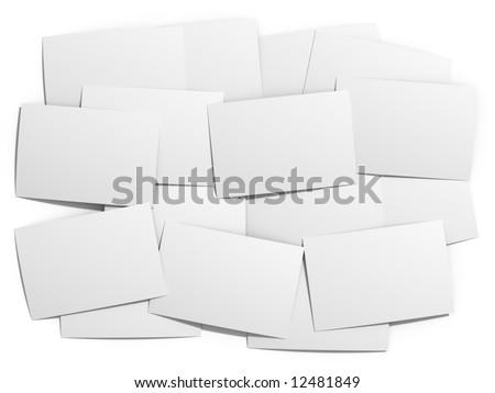 Isolated shuffled blank prints - stock photo