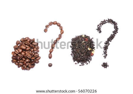 isolated signs of question from tea and coffee - stock photo