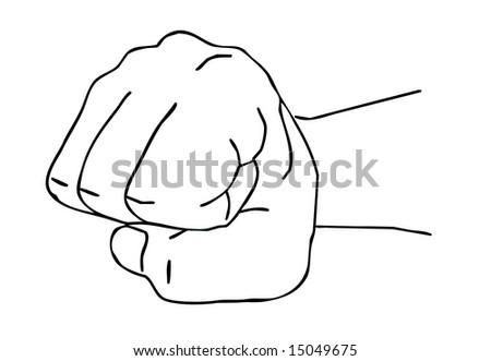 isolated silhouette fist on white background