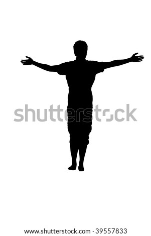 Isolated silhouette of a man with spread arms on a white blackground - stock photo
