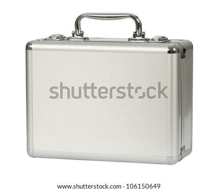 isolated silver aluminium bag - stock photo