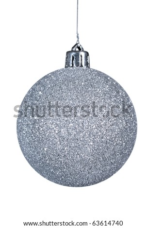 Isolated silver christmas ball on white. - stock photo