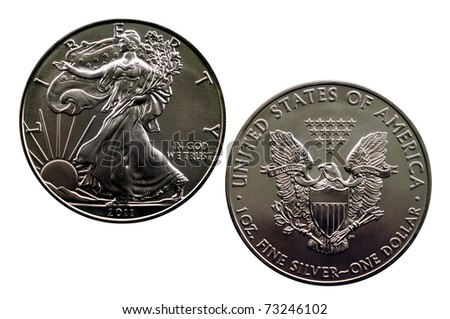 isolated silver eagle 2011 - obverse and reverse - stock photo