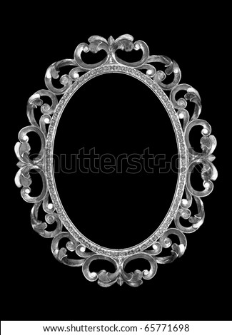 isolated silver frame on a black background. - stock photo