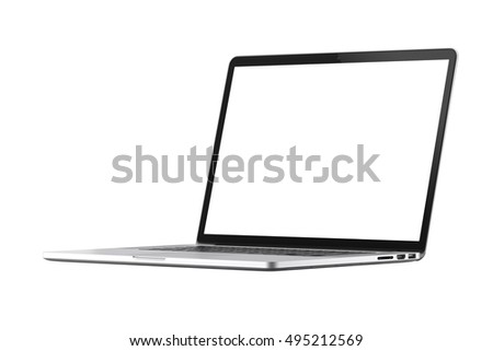 Isolated silver laptop white screen on the white background