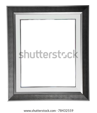 isolated silver modern frame on white - stock photo