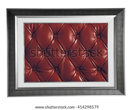 isolated silver modern photo frame with red Leather texture - stock photo