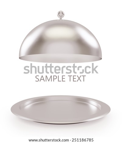 Isolated silver open tray on a white background. High resolution 3D