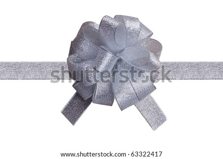 isolated silver ribbon - stock photo