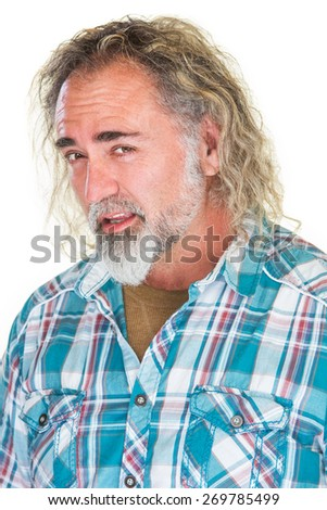 Isolated single adult bearded Caucasian male flirting - stock photo