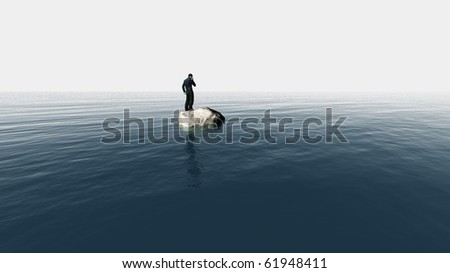 isolated single businessman with cellphone - stock photo