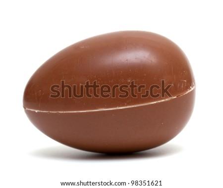 isolated single chocolate egg - stock photo