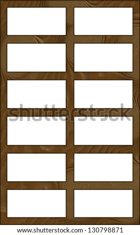 Isolated Single Layered Contoured Wooden Twelve Window Wide Frame