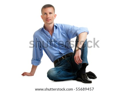 isolated sitting on floor  man - stock photo