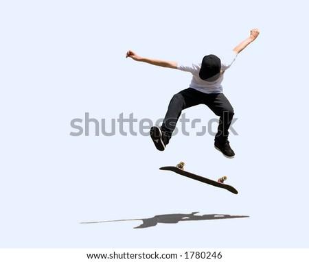 isolated skateboarder - stock photo