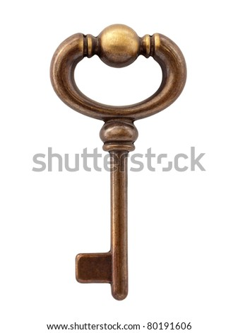 Isolated Skeleton Key Isolated on white with Clipping Path - stock photo
