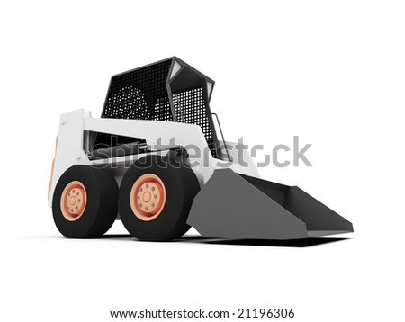 isolated skid steer loader on a white background - stock photo