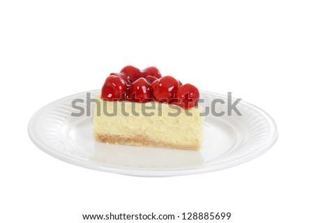 Isolated slice cherry cheesecake on plate - stock photo