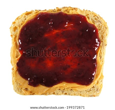 Isolated slice of bread with peanut butter and jelly spread - stock photo