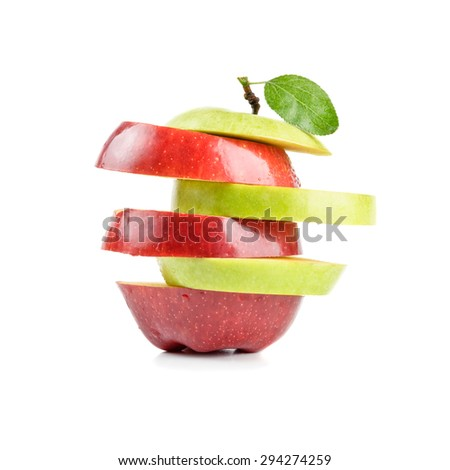 isolated sliced red and green apple - stock photo