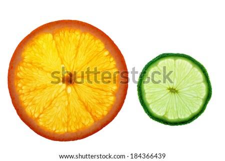 isolated slices of orange and lemon - stock photo