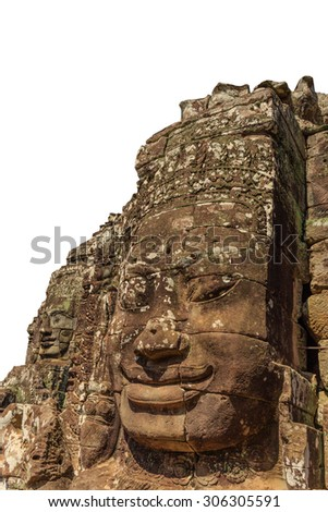 Isolated Smiling Face Tower with white blackground in Bayon Temple - stock photo