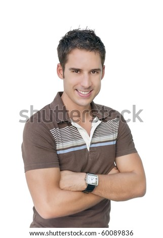 Isolated smiling man - stock photo