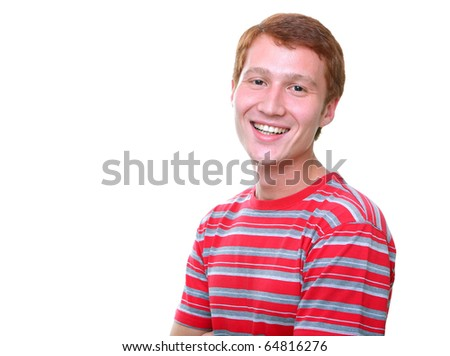isolated smiling young man in red t-shirt