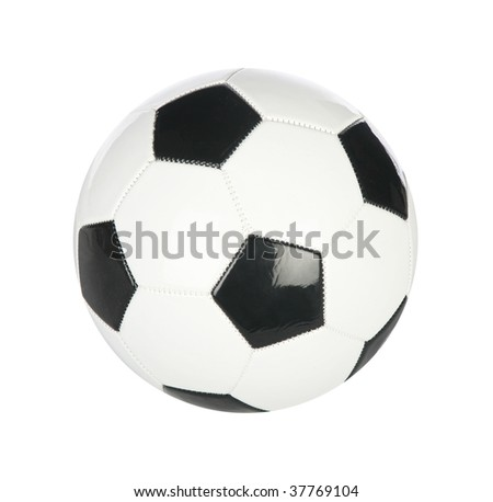 Isolated soccer ball on plain white background - stock photo