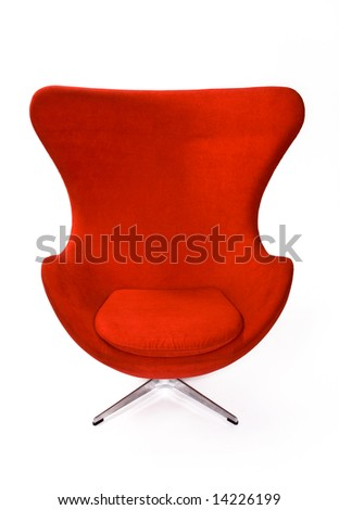 Isolated Soft Red Stylish Chair - stock photo