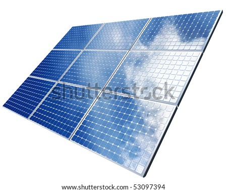 isolated solar panel - stock photo