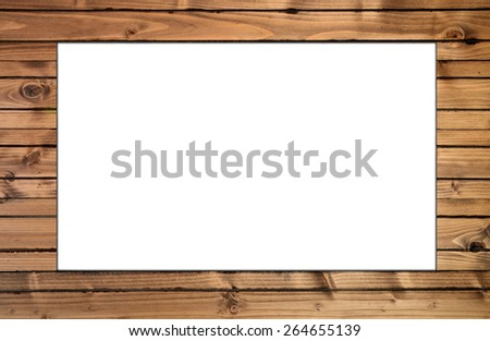 isolated space with wood frame - stock photo