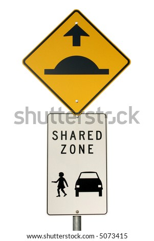 Isolated speed hump sign an pedestrian Area Zone sign and - stock photo