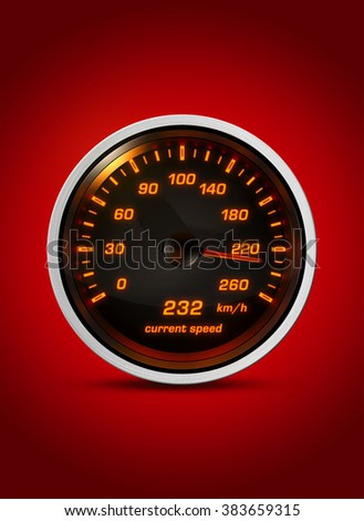 Isolated speedometer shows current speed of 232 kilometers an hour on a red background. Concept for breaking the speed limit, driving fast or racing a car.