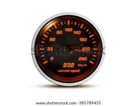 Isolated speedometer shows current speed of 232 kilometers an hour on a white background. Concept for breaking the speed limit, driving fast or racing a car.