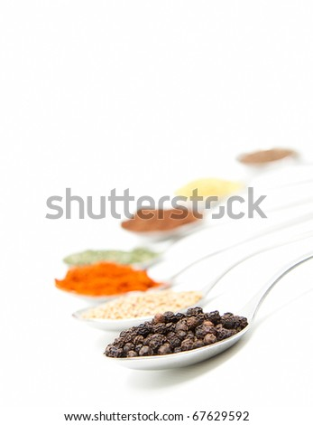 isolated spoons with different spice