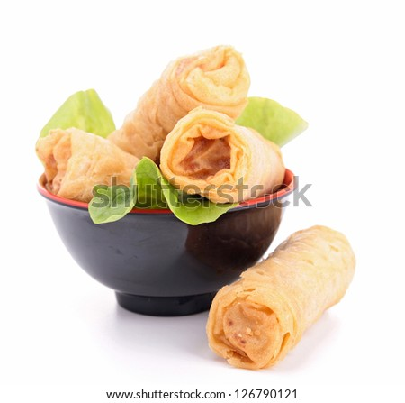 isolated spring roll and lettuce - stock photo