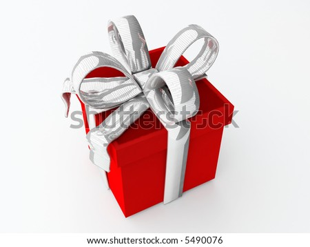 isolated square present with big metallic silver bow - stock photo