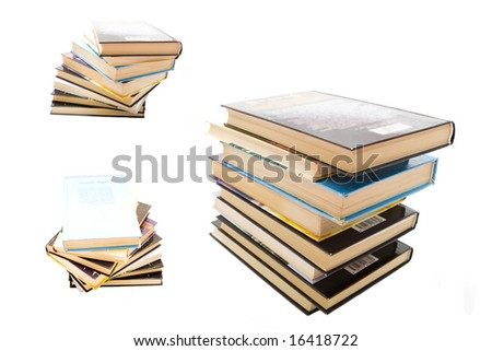 Isolated stack of books - stock photo