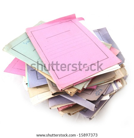 Isolated stack of folder with shot over white background - stock photo