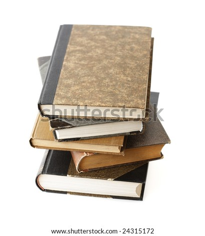 Isolated stack of old books