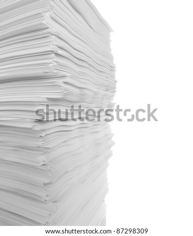 isolated stack of paper - stock photo