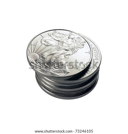 isolated stack of silver eagle coins - stock photo